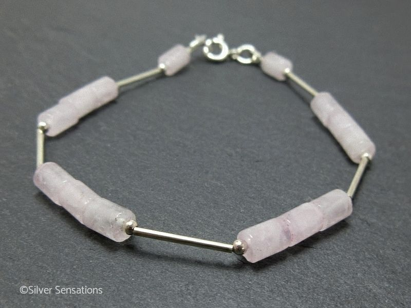 Baby pink rose quartz small tube beads sterling silver